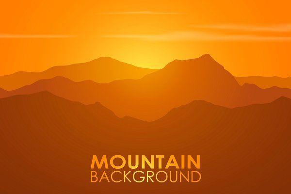 Mountain range over sunset. Vector. - Illustrations