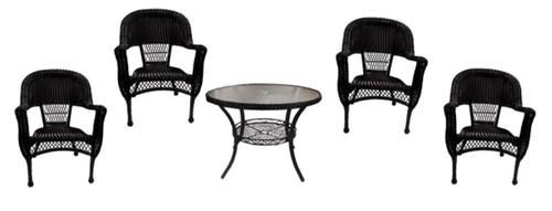 5 Piece Black Resin Wicker Patio Dining Set   Table And 4 Chairs