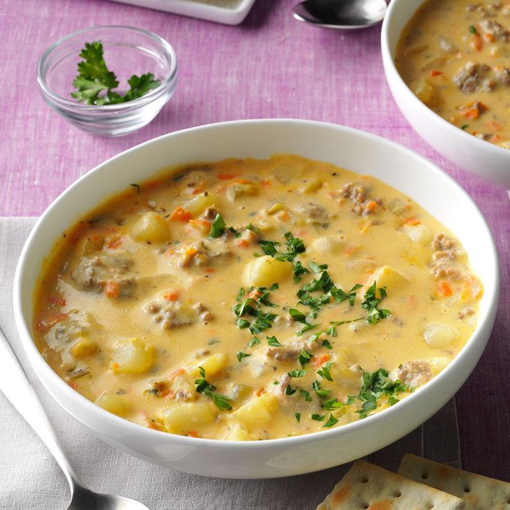 Big Batch Cheeseburger Soup Recipe -When my mother-in-law gave me her recipe for cheeseburger soup, I changed it a bit to make it my own. —Christina Addison, Blanchester, OH