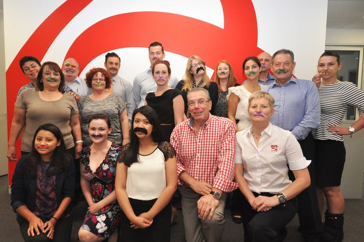Assetlink Gladesville Support Office show off their Mo's at this year's Movember Morning Tea.