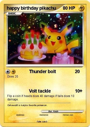 Playing Card Birthday Pikachu Card   Pokémon Happy Birthday Pikachu 1 Thunder Bolt My Pokemon Card Picture