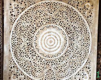 "White Washed Teak Wood King Bed Headboard 72"" 6ft Lotus Flower Mandala Wooden Hand Craved Carving Art Panel Wall Home Asian Decor Thai 180cm"