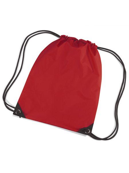 Rode gymtasjes  Nylon gymtas in het rood van waterafstotende stof en reigkoord. Inhoud: 12 liter. Afmeting: 45 x 34 cm.  EUR 3.50  Meer informatie