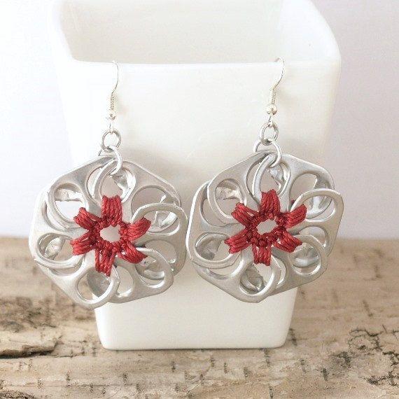 red pop tab flower earrings - pair, crochet, upcycle, recycle, eco - pop tab, pull tab, ring tab, ring pull
