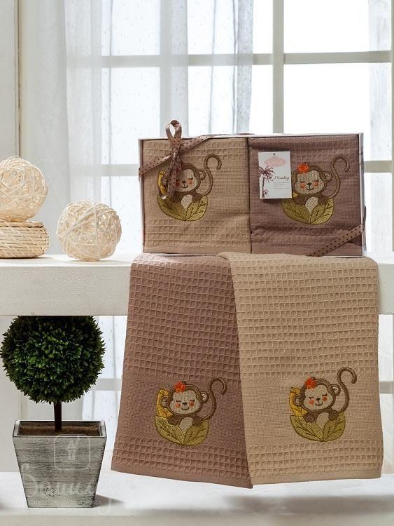 Набор вафельных полотенец с вышивкой KARNA обезьяна WOLDI V1 40х60 (2шт) от Karna (Турция) - купить по низкой цене в интернет магазине Домильфо