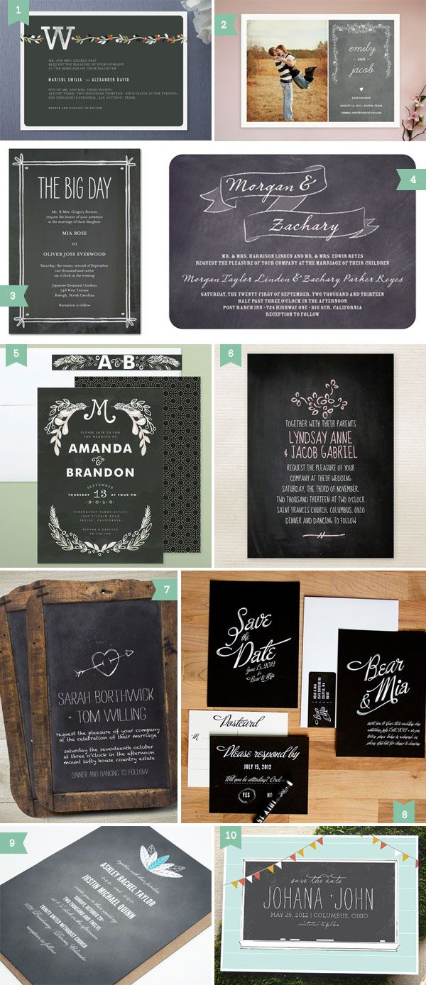 Color + chalkboard wedding invitation