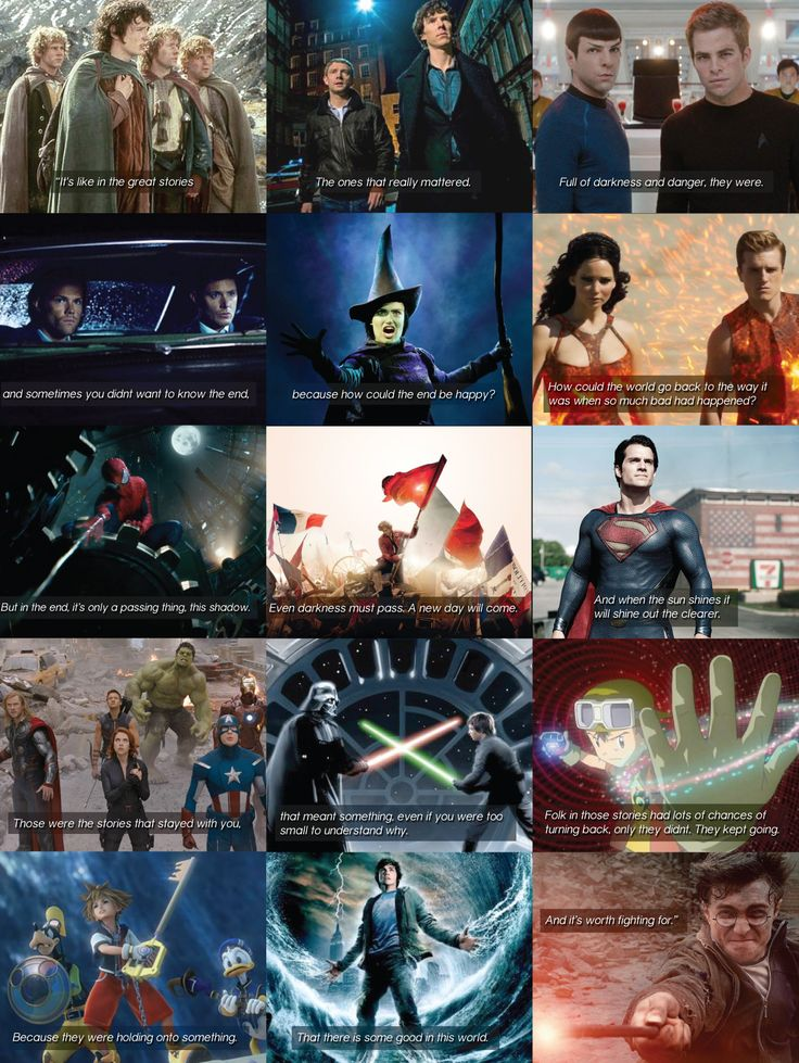 THESE ARE THE STORIES THAT MATTER..... this is perfection. Lord of the Rings, Sherlock, Star Trek, Supernatural, Wicked, Hunger Games, Spiderman, Les Mis, Superman, The Avengers, Star Wars, Digimon, Kingdom Hearts, Percy Jackson, Harry Potter. THESE ARE THE STORIES THAT SAVE LIVES