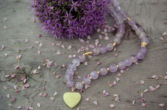 Amethyst and Lemon Jade heart necklace