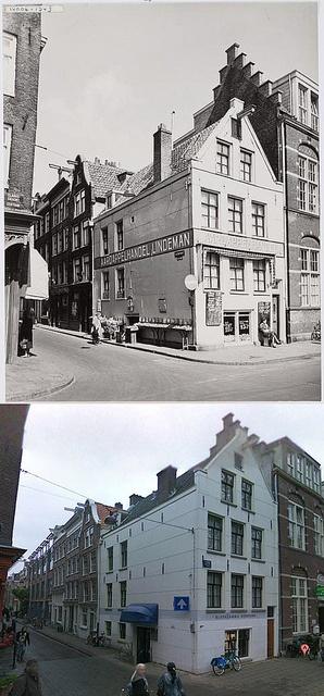 May 1954. Photo at the top: Lindeman vegetable and potato store at the corner of Elandsgracht 76 - Hazenstraat 53. Top photo Beeldbank Stadsarchief Amsterdam. #amsterdam #1954