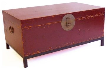 Country Book Trunk, Large, Red - asian - Decorative Trunks - Gingko Home Furnishings