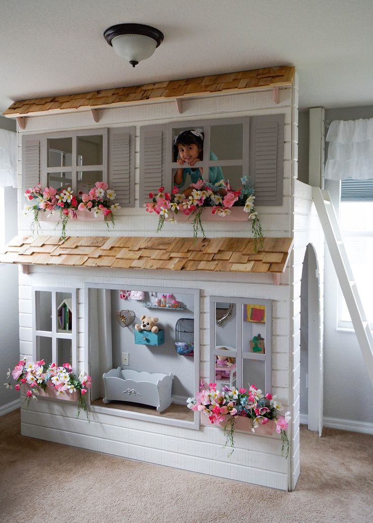 Custom Dollhouse Cottage Loft Bed, Pick Your Colors, Play Area, Bunkbed. Trundle, Slide & Stairs w/ built-in storage options Availible! by DangerfieldWoodcraft on Etsy https://www.etsy.com/listing/252979299/custom-dollhouse-cottage-loft-bed-pick