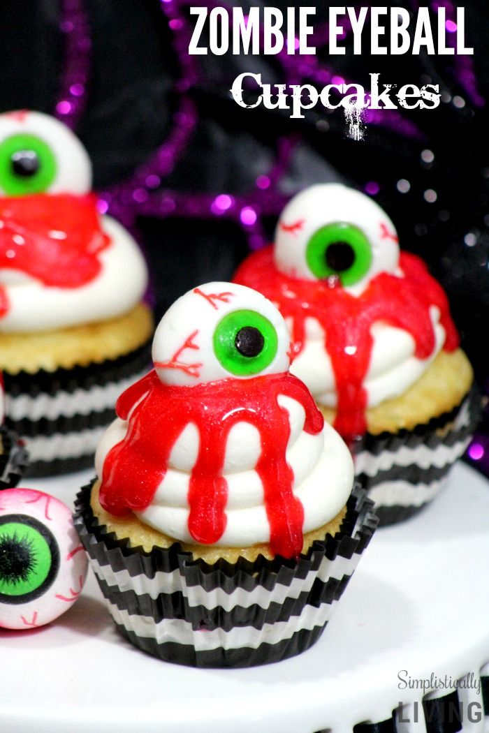 Zombie Eyeball Cupcakes Simplistically Living