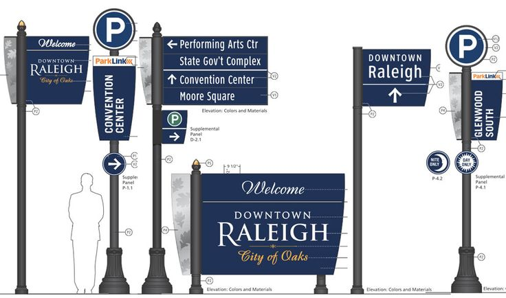 Banner style signage. Downtown Wayfinding System Installed   New Raleigh