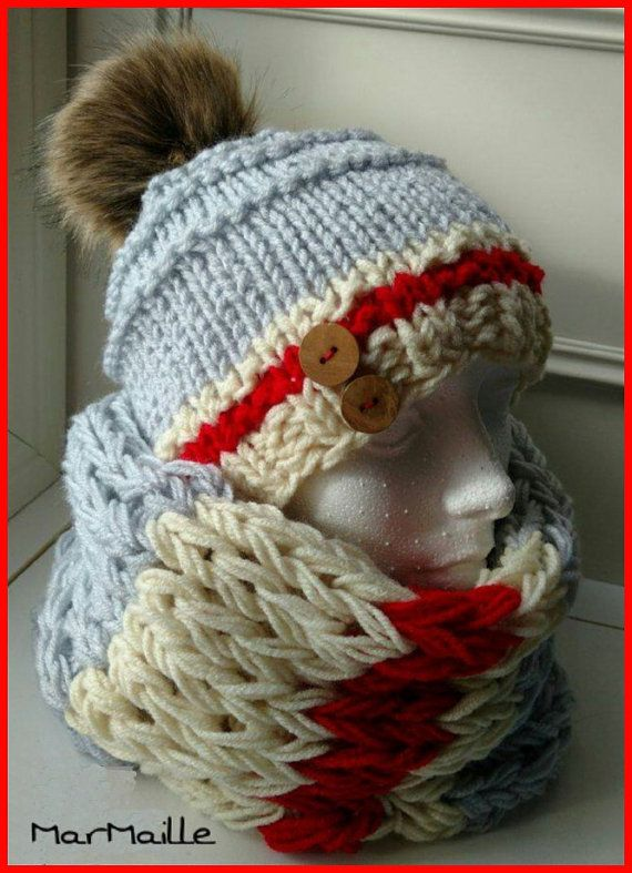 Work wool sock style hat and neck warmer kit par CreationsMarMaille