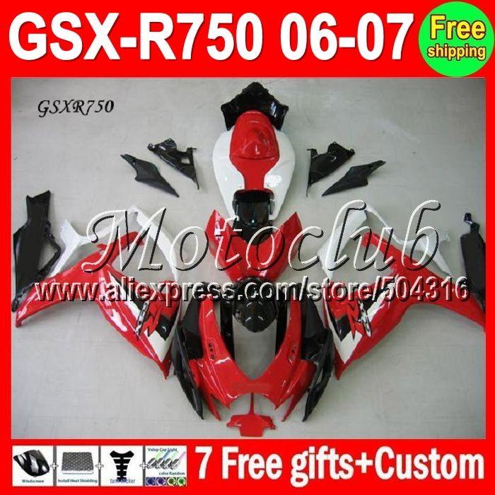 389.00$  Watch here - http://ali7bx.worldwells.pw/go.php?t=1499844961 - 7gifts+Cowl Red white black Fit SUZUKI 06 07 K6 GSXR750  MC10442 GSXR 750 GSX-R750 red white 2006 2007 GSXR-750 Fairings Kits