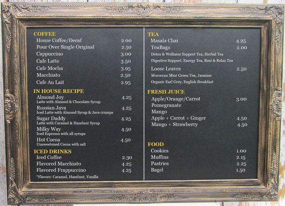 "LARGE RESTAURANT CHALKBOARDS For Sale - Coffee House Menu Board Huge Extra Large Black Gold Decor - 44""x32"" -Rustic Blackboard Menu Board"