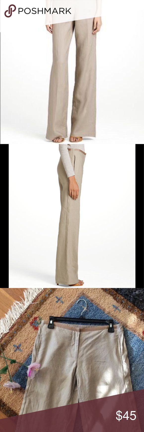 Tory Burch Monique Linen Trouser Pant size 2 Tory Burch Monique beige linen wide leg trouser pant size 2.  Excellent condition.  100% linen.  Flat lay: 14.5 inch waist, 8.25 inch front rise, 19 inch hip, 33.5 inch inseam. Tory Burch Pants Trousers