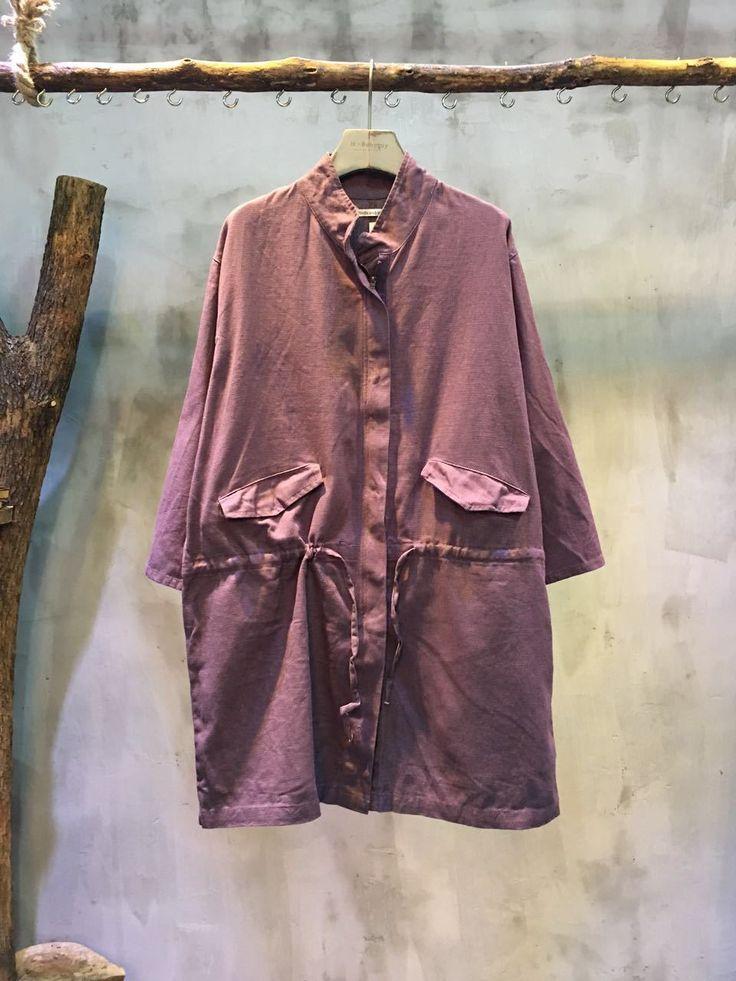 Low-Coat Concealed Zip Drawstring Waist Cheap Blouse Loose-Fitting Linen Blouse #blouse #purple #linen #loose #plussize #amazing