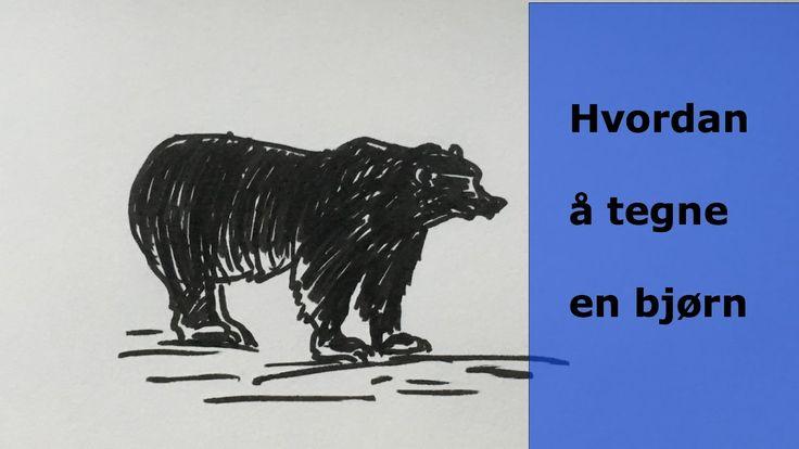 Hvordan å tegne en bjørn. How to draw a bear. skisser ideas, drawing ideas, draw, videos, draw art, draw and sketches, tegning, sketghes, videos, youtube, draw animals www.maleriarenaer.com