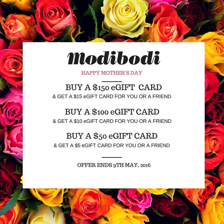 Spoil your special someone this Mother's Day with an instant Modibodi eGift Card and you to will get a gift too! * Your reward will be sent within 24 hours of purchase and can be used store wide. Can not be used with any other offer or promotion. First 50 purchasers only.