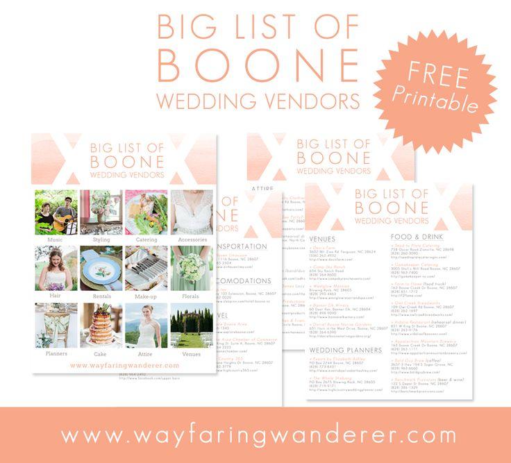 Best 25 wedding vendors ideas on pinterest wedding advice free printable from wayfaring wanderer nc wedding photographer boone wedding vendors junglespirit Gallery