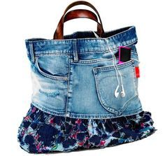 creative recycling reuse reuse recycle jeans denim fashion DIY bags shoes clothing accessories bracelets