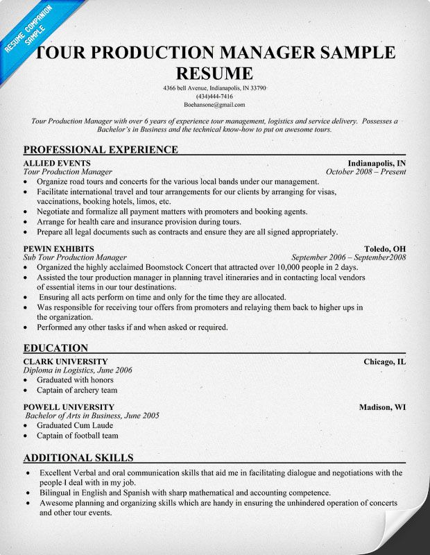 tour production manager resumecompanioncom resume samples across all industries pinterest resume sample resume and resume examples