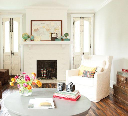 White Living Spaces: Bradford Project Living Room: Reclaimed Wood Floor, Skinny
