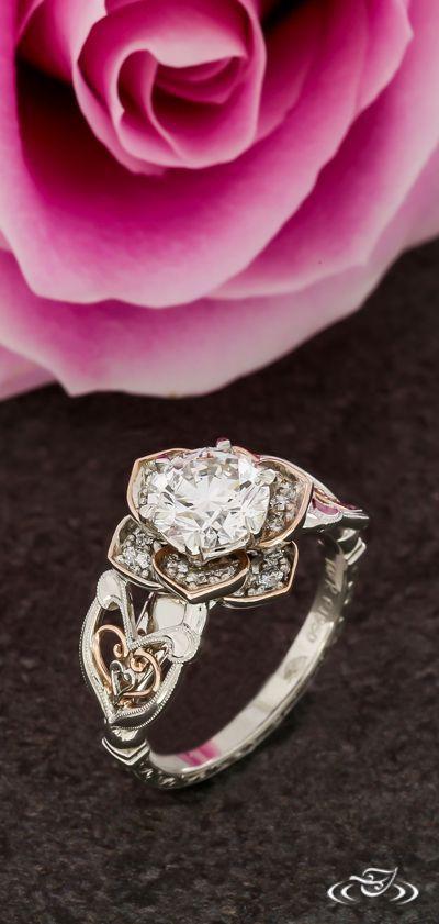 Vintage Rose Halo with Scroll Engraving & Rose Gold FIligree. Green Lake Jewelry 124224 #weddingring