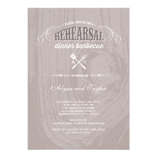 """BBQ rehearsal dinner invitations // rustic rehearsal dinner invitations featuring a vintage rustic wedding design / fonts and the words """"join us for a rehearsal dinner barbecue"""" , on wooden like background (brown and white colors) // outdoor rehearsal dinner // barbecue rehearsal dinner // Customize it at http://www.zazzle.com/rustic_wood_wedding_rehearsal_dinner_bbq_party_invitation-161025193930688353?rf=238395237176455059"""