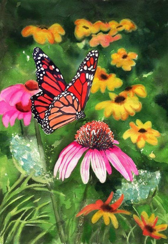 The Beautiful Garden And Butterflies Acrylic Painting Flower