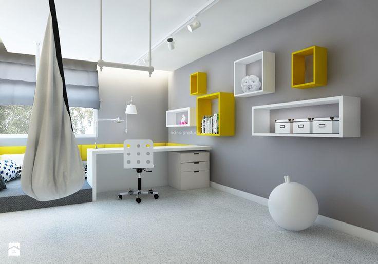 Dom z kominkiem w roli głównej - Średni pokój dziecka dla chłopca dla nastolatka, styl nowoczesny - zdjęcie od LIVING BOX