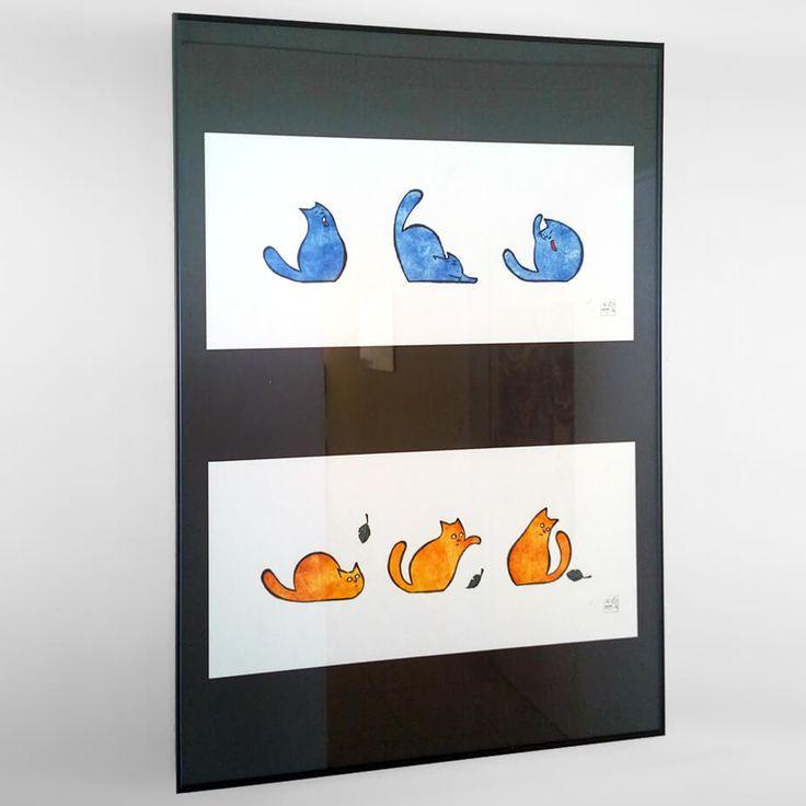 Couple Gravures Encadrées - 2 gravures sur papier Art, tirage numérotée avec certificat et authentification, encadrés (80cm x 60cm) seulement 10 exemplaires pour chaque illustration -  illustrations originales de Andrea Bressan, créées exclusivement pour soutenir la Ligue et le Refuge
