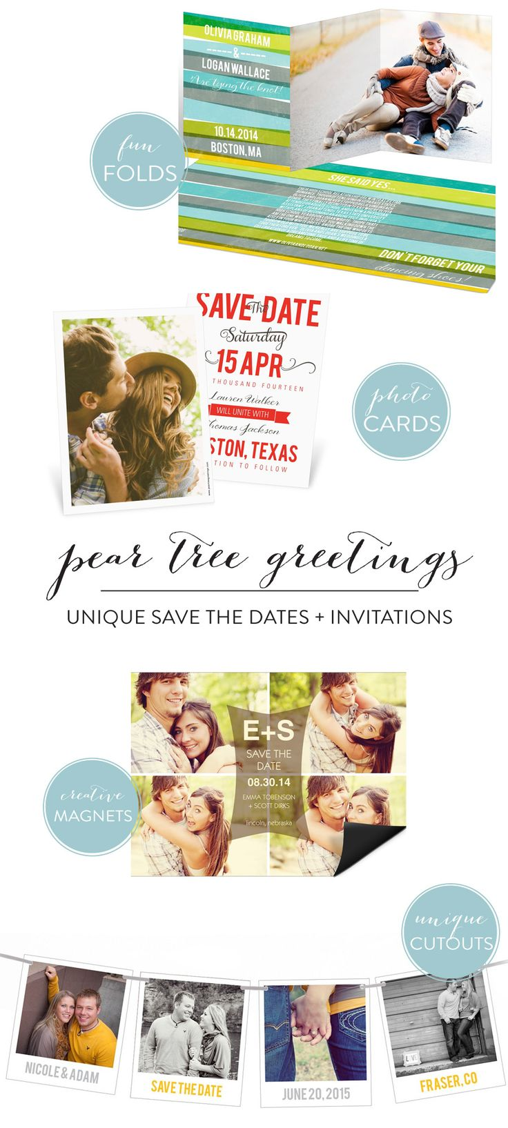 Unique Save the Dates from Pear Tree Greetings + A Discount!  Read more - http://www.stylemepretty.com/2013/11/23/unique-save-the-dates-from-pear-tree-greetings-a-discount/