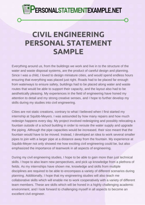 Pin by PS Example on Civil Engineering Personal Statement Example