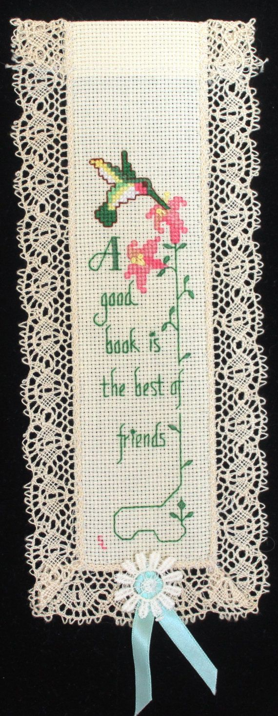 Hummingbird Cross stitch bookmark. Name can be added to the top if desired. on Etsy, $12.50: