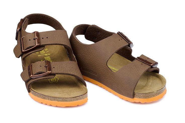 Sandale Birkenstock Milano brun enfant birko-flor® grainé (desert soil brown…