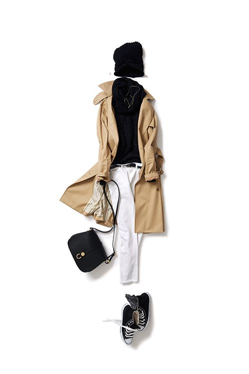 Kyoko Kikuchi's Closet #kk-closet 黒の印象が強めの王道配色を、ラフに着る