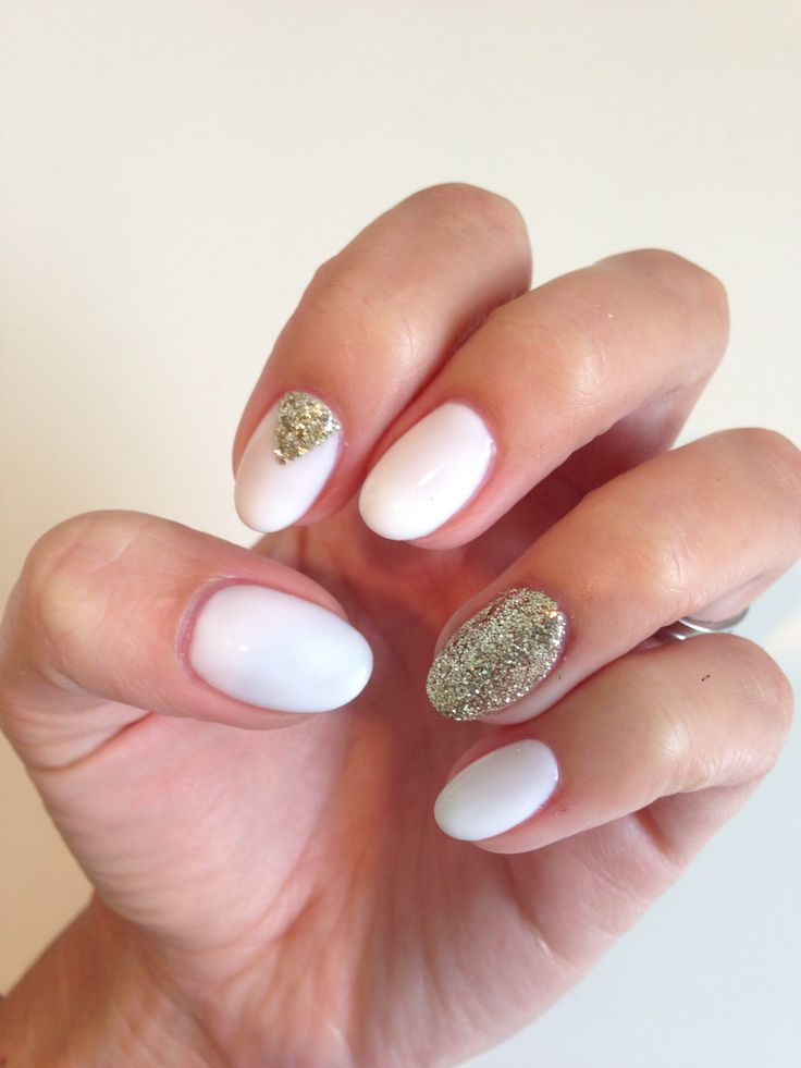 Shellac studio white with gold glitter accents