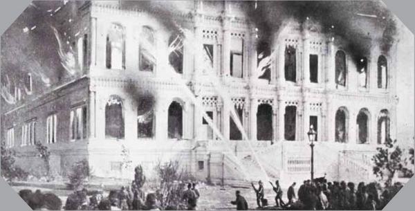 1909'da çıkan Çırağan Sarayı yangını, binayı büyük ölçüde tahrip etmiş