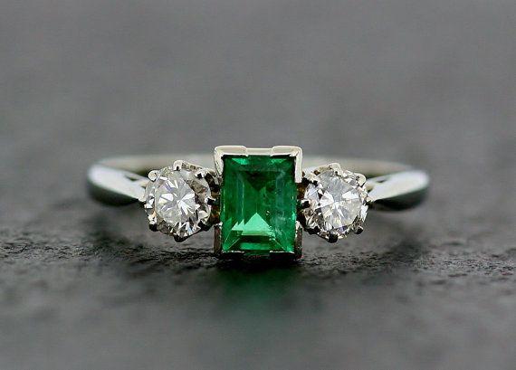 Art Deco Emerald Ring  Antique Emerald & by AlistirWoodTait, £1100.00
