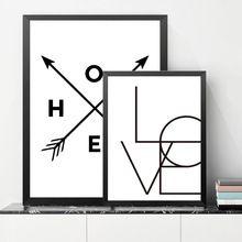 Nordic Foto Amor Duvar Tablolar Carteles E Impresiones Del Arte de La Pared lienzo Pintura Home Cotización Pared Cuadros Para la Sala Sin Marco YT0068(China)