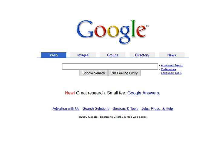 Google website in 2002