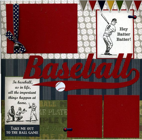 Premade Baseball Scrapbook Page  Hey by SusansScrapbookShack, $16.95