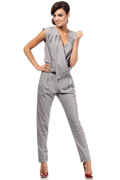 Elegant long jumpsuit in gray