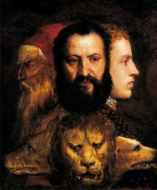 Tiziano Alegoría de la Prudencia (1565).   Desde el presente (en acto), conocer el pasado cumplido para preveer el futuro (en potencia).
