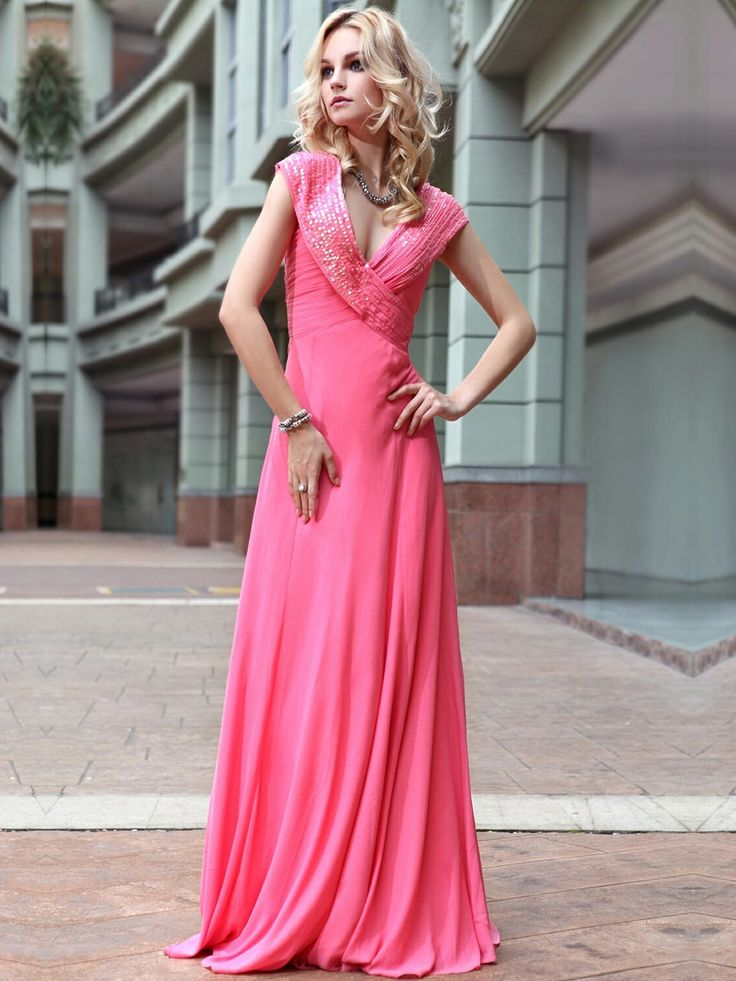 Europe and America sexy V neck A-line evening dress