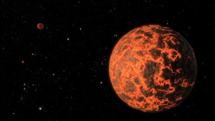 Экзопланета UCF-1.01 и ее родная звезда GJ 436 на заднем плане глазами художника