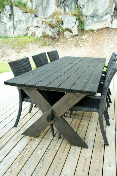 Här är vårt senaste färdigställda projekt.Ett egenbyggtutebord - äntligen! Äntligen kan vi få njuta av tidiga mornar medsmarrig frukost ute på altanen. Och sköna middagar under parasoll med…