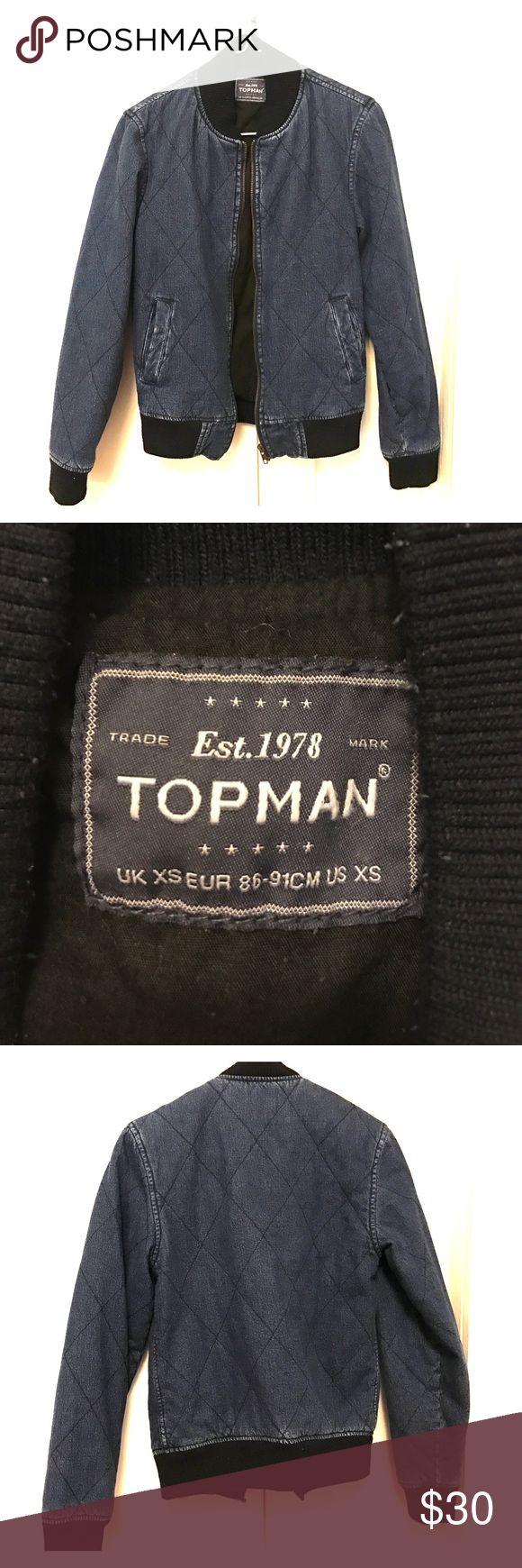 Topman Denim Bomber Topman Denim Bomber, brand new never worn, very trendy and looks cute on Topman Jackets & Coats
